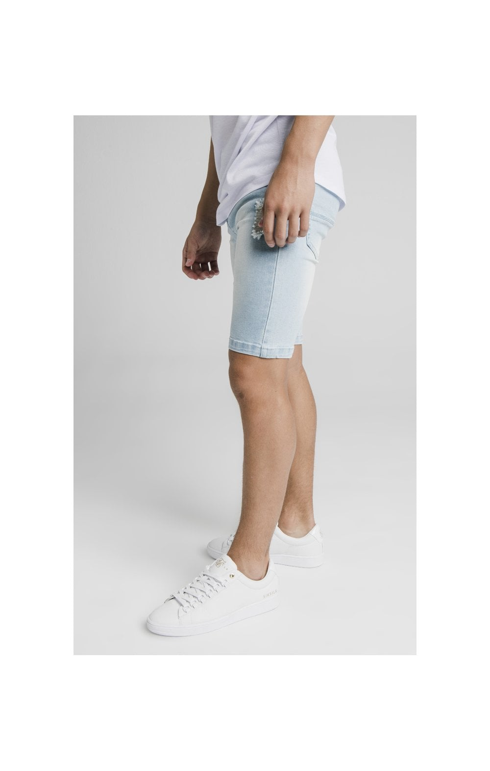 Illusive London Distressed Denim Shorts - Light Blue (3)