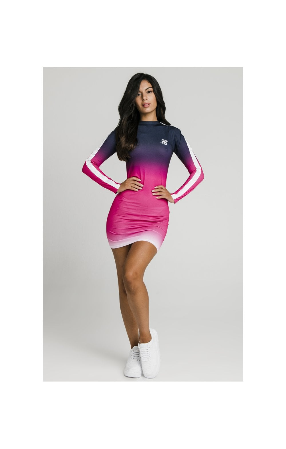 SikSilk Tape Fade Bodycon Dress - Navy, Pink & White (5)