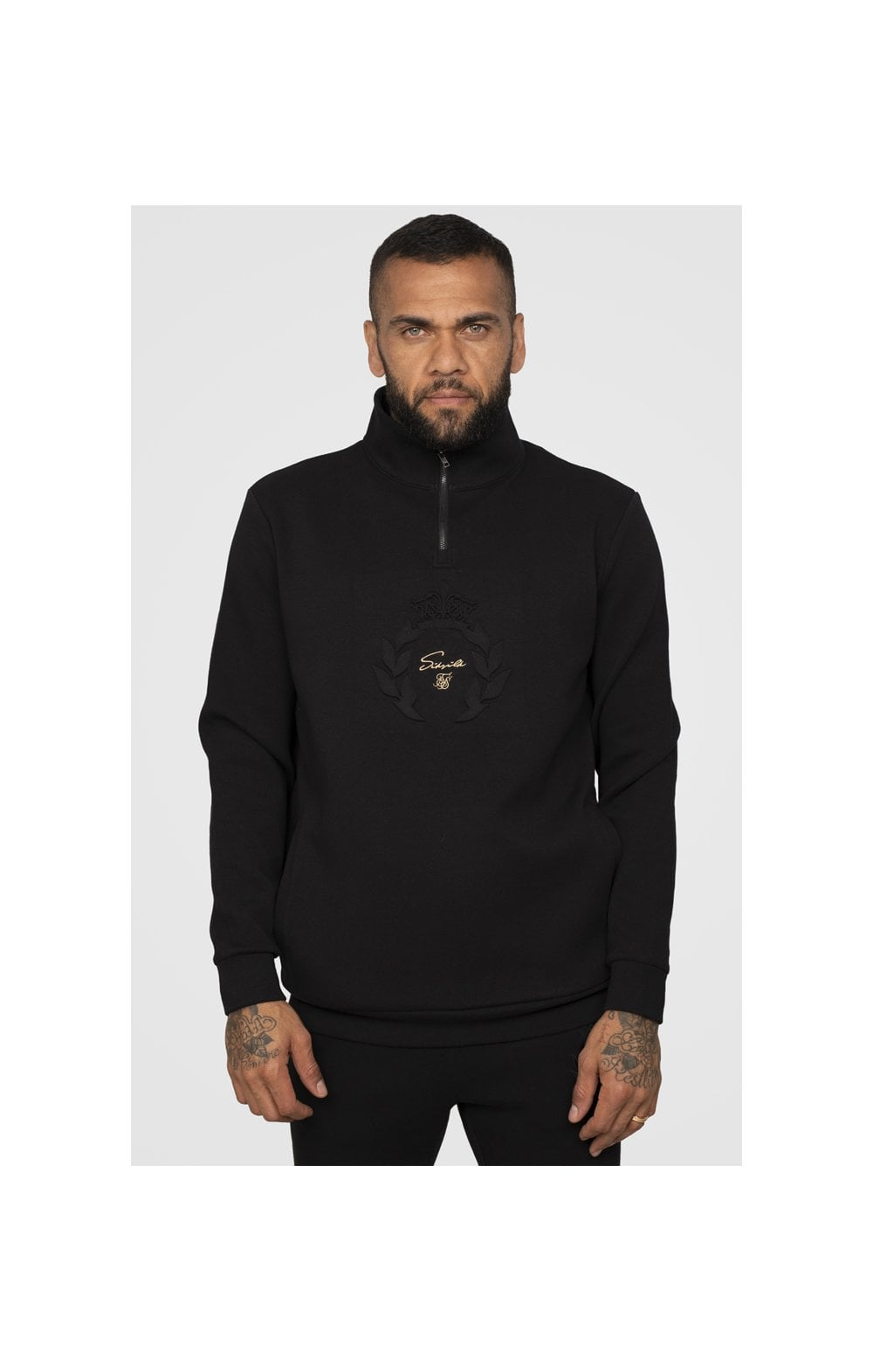 SikSilk x Dani Alves Quarter Zip Prestige Embossed Overhead Track Top – Black