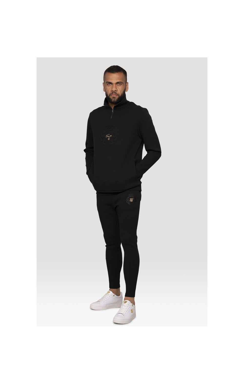 Load image into Gallery viewer, SikSilk x Dani Alves Quarter Zip Prestige Embossed Overhead Track Top – Black (2)