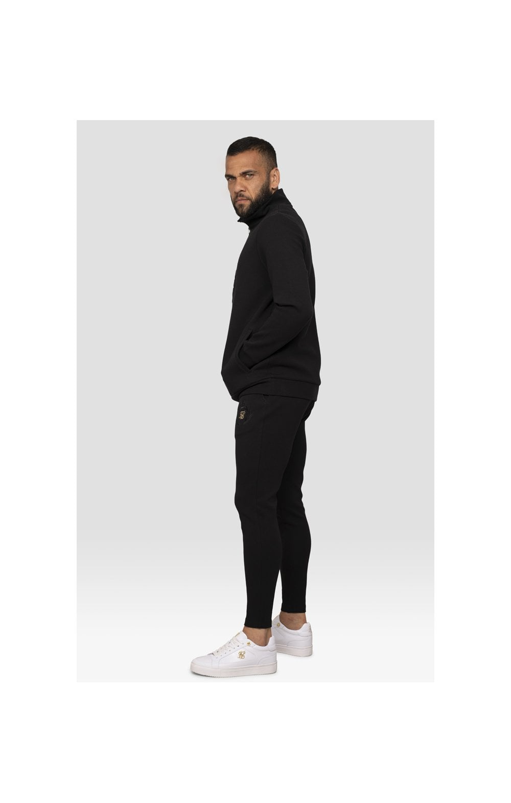 Load image into Gallery viewer, SikSilk x Dani Alves Quarter Zip Prestige Embossed Overhead Track Top – Black (6)
