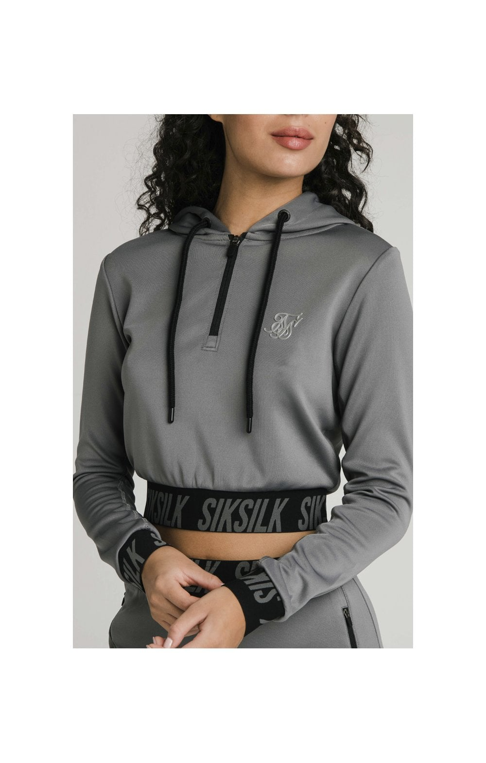 SikSilk Cropped Gym Track Top - Grey (1)