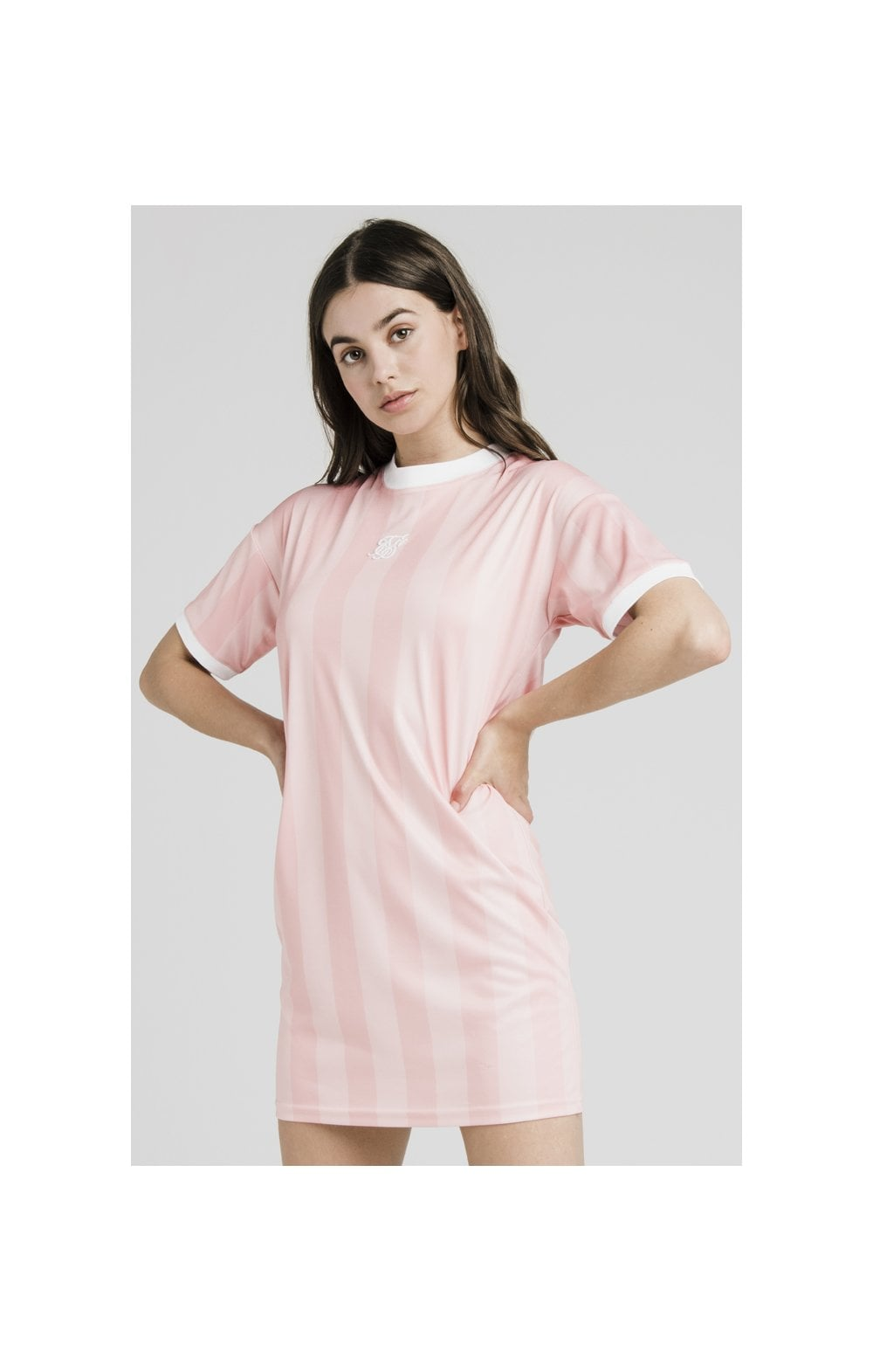 SikSilk Luxury Poly Dress - Apricot Blush
