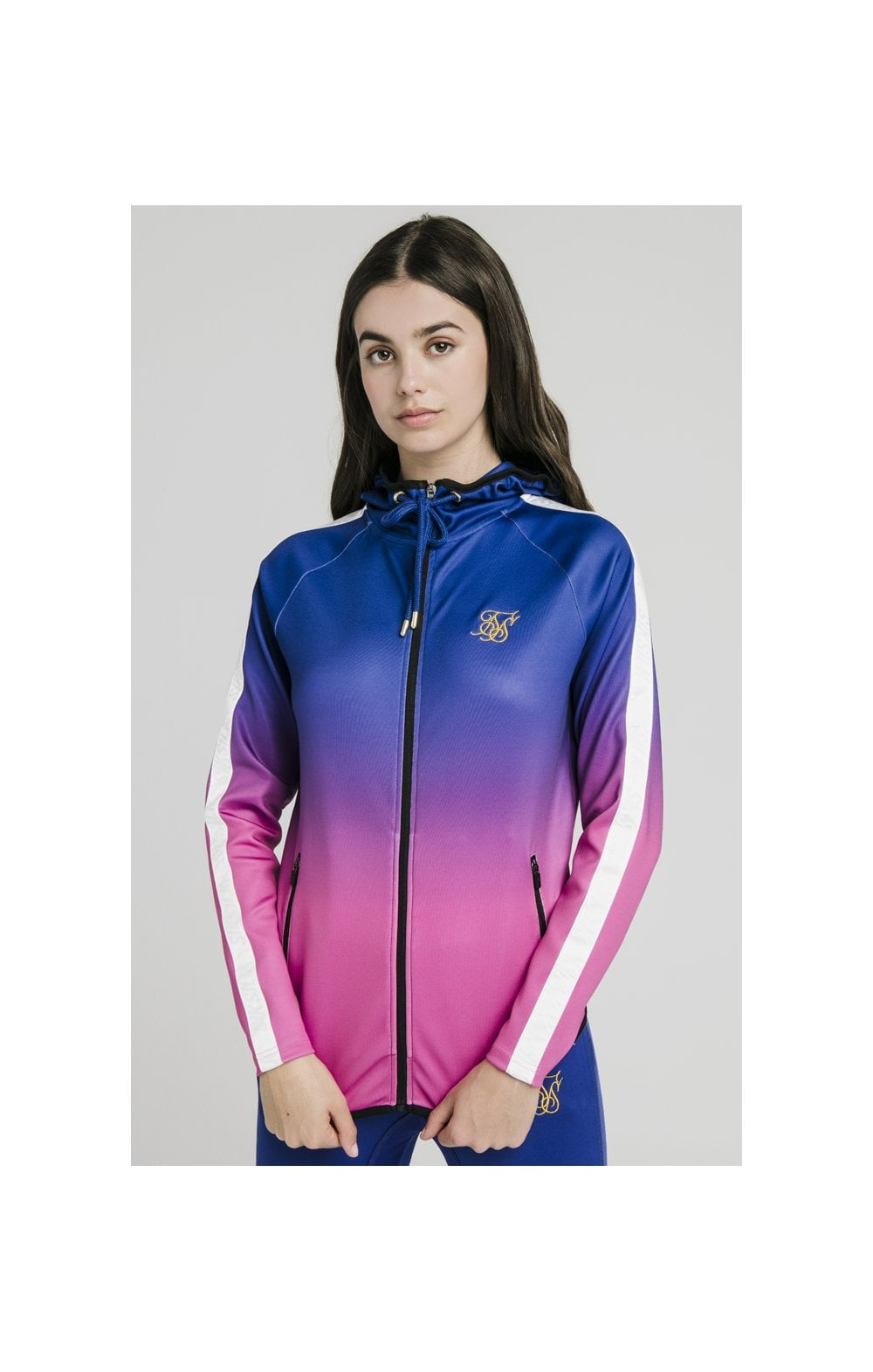 SikSilk Athlete Fade Zip Through Hoodie - Blue & Rose WOMEN SIZES: 6-XXS