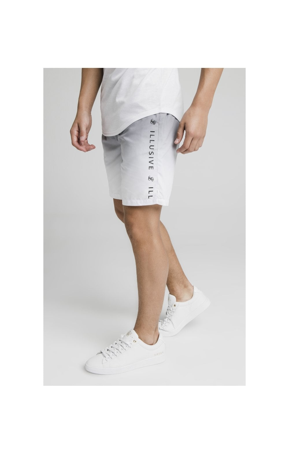 Illusive London Fade Swim Shorts - Grey & White (2)