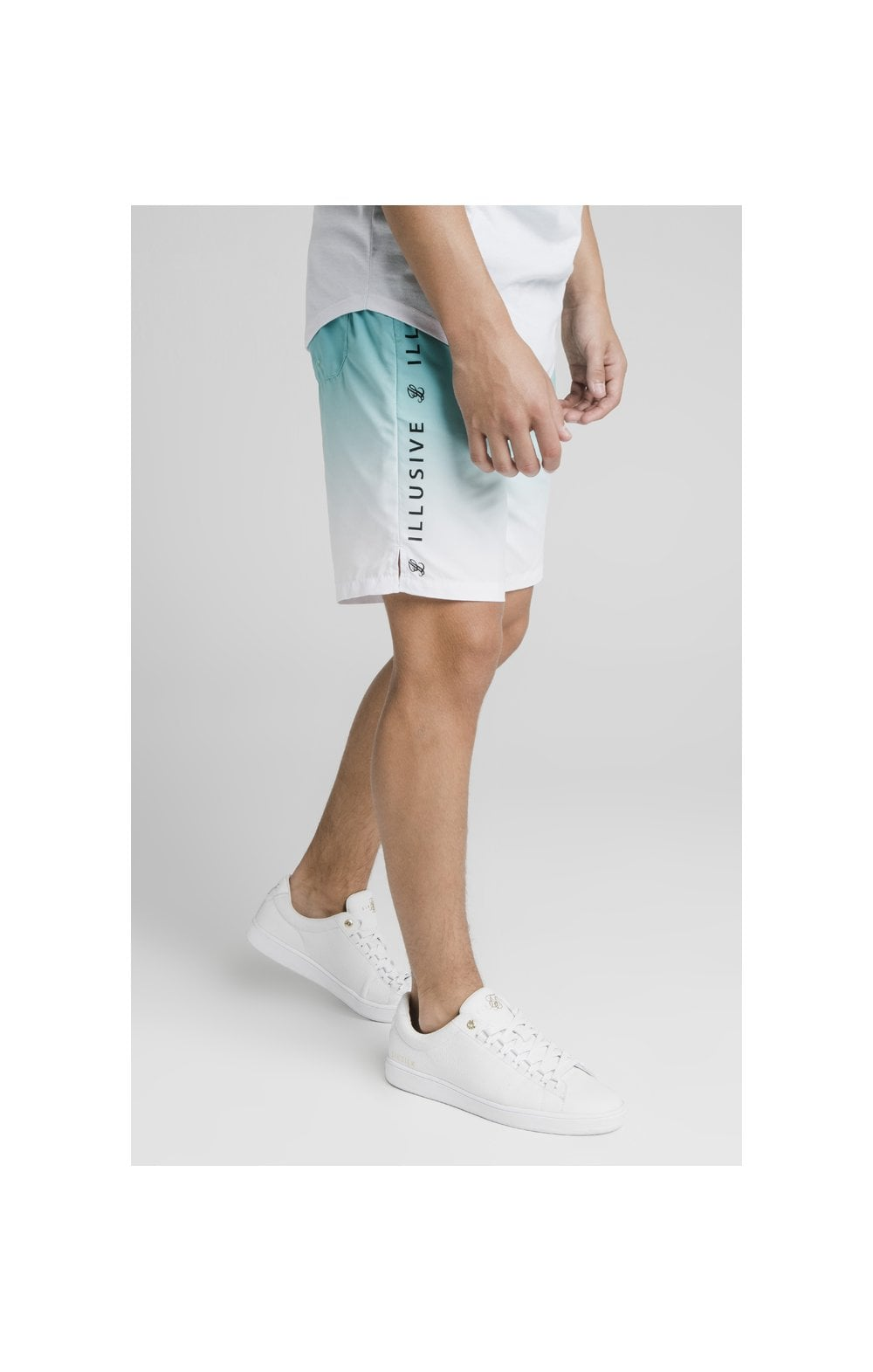 Load image into Gallery viewer, Illusive London Fade Swim Shorts - Teal & White (2)