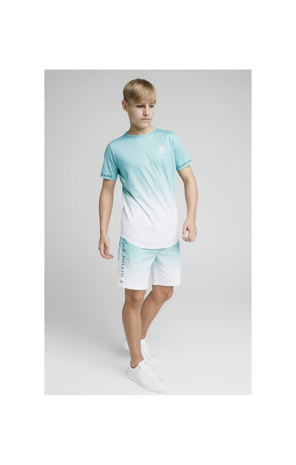 Load image into Gallery viewer, Illusive London Fade Swim Shorts - Teal & White (3)