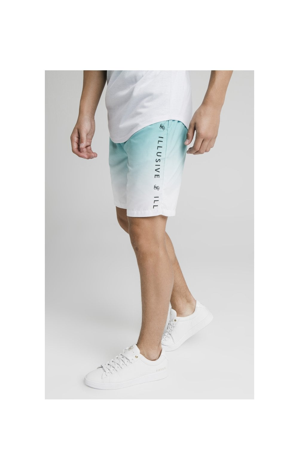 Load image into Gallery viewer, Illusive London Fade Swim Shorts - Teal & White