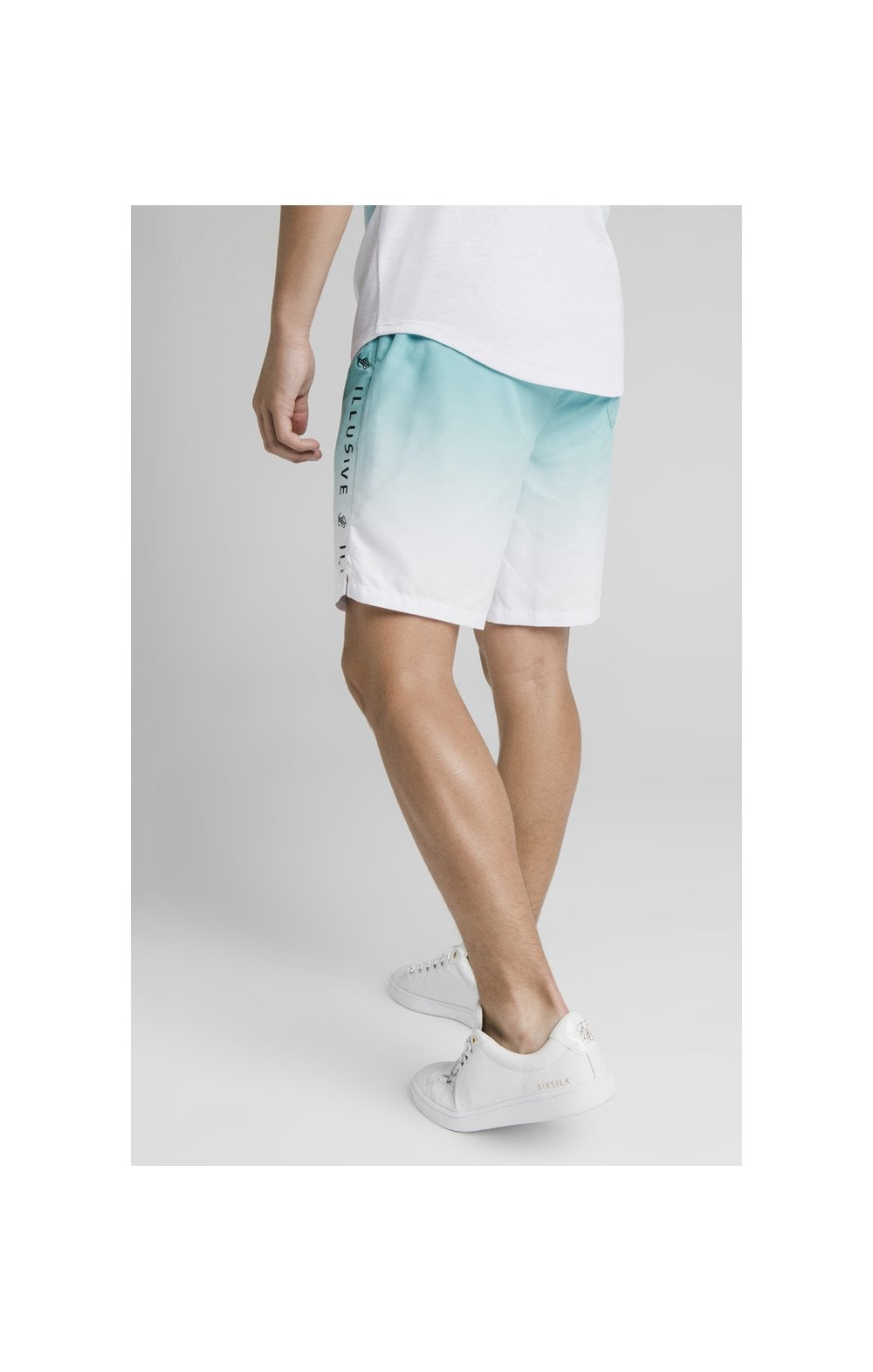 Load image into Gallery viewer, Illusive London Fade Swim Shorts - Teal & White (4)
