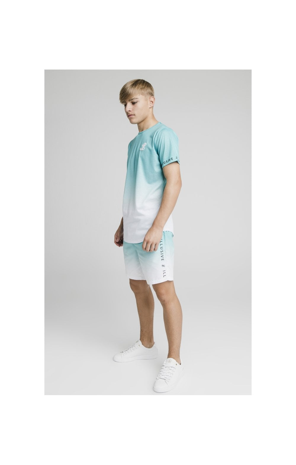 Load image into Gallery viewer, Illusive London Fade Swim Shorts - Teal & White (7)