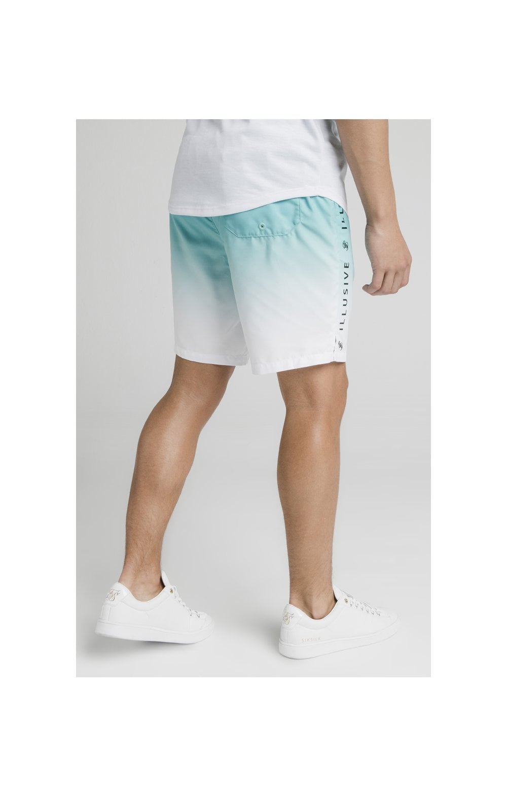 Load image into Gallery viewer, Illusive London Fade Swim Shorts - Teal & White (6)