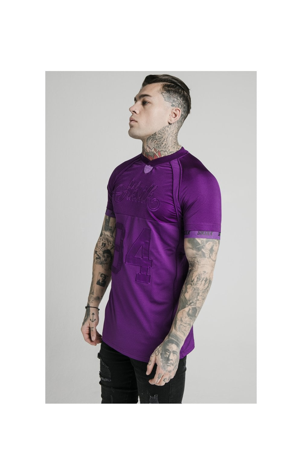SikSilk Stretch Sports Tee - Purple MEN SIZES TOP: Medium