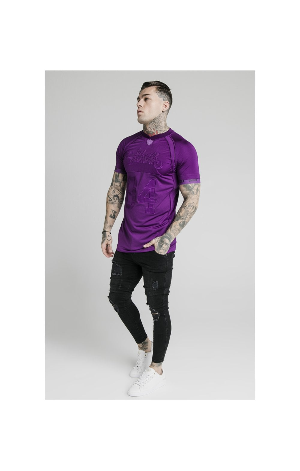 Load image into Gallery viewer, SikSilk Stretch Sports Tee - Purple (4)
