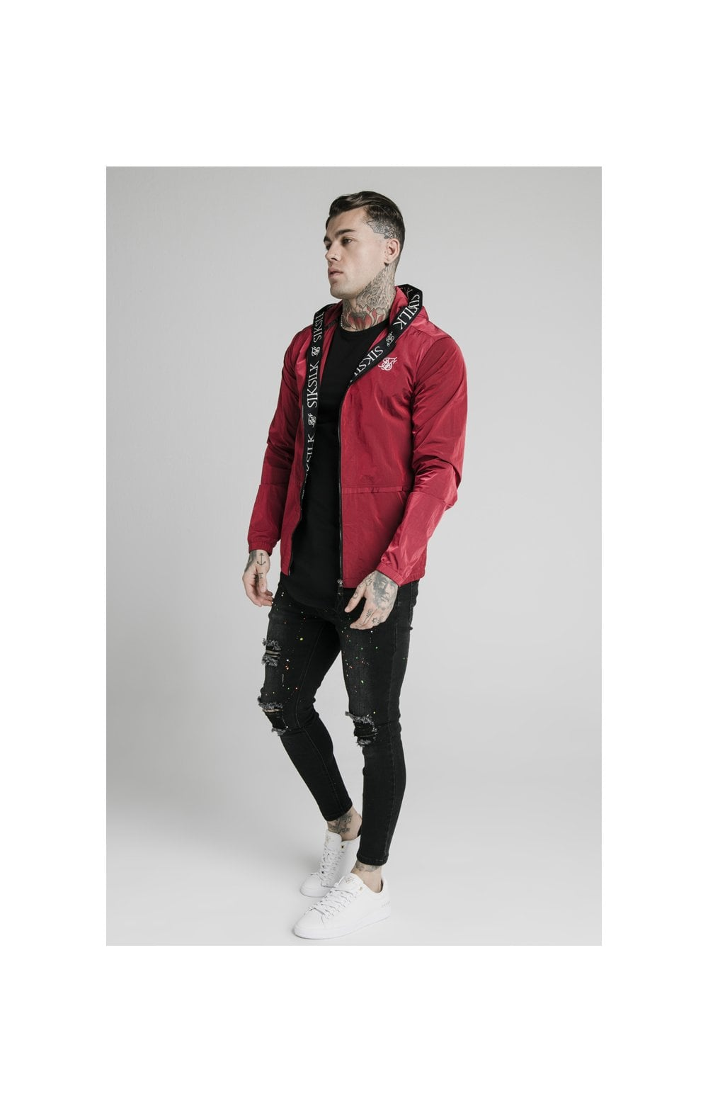 SikSilk Zip Through Windbreaker Jacket - Red (3)