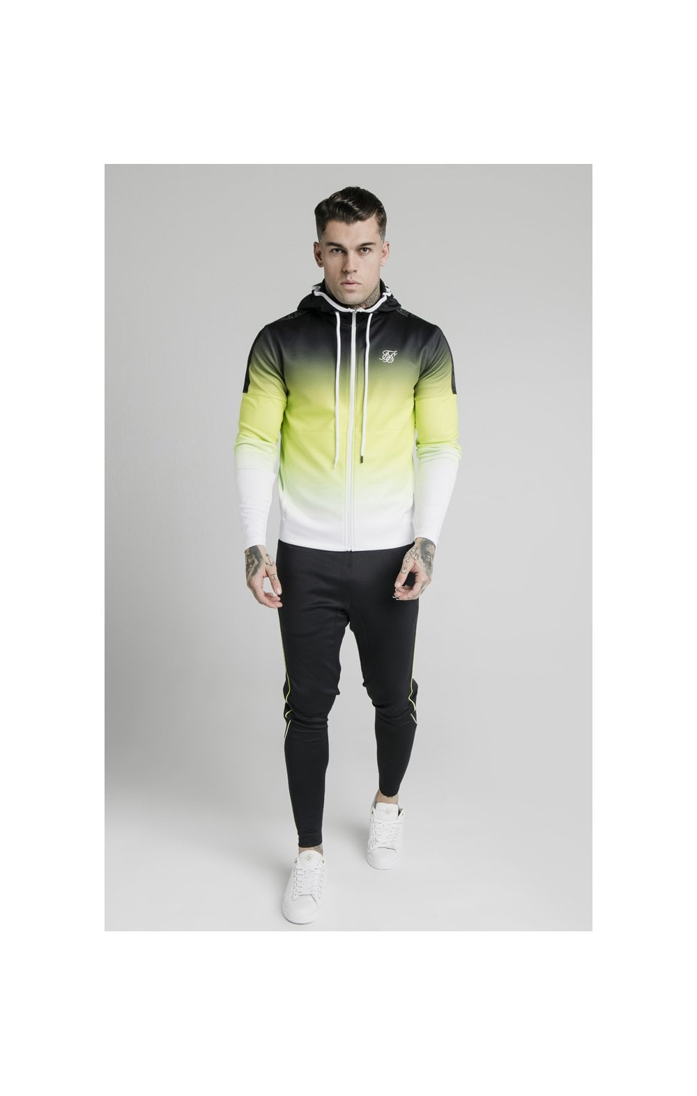 Load image into Gallery viewer, SikSilk Tri-Fade Agility Zip Through Hoodie - Black, Fluro & White (3)
