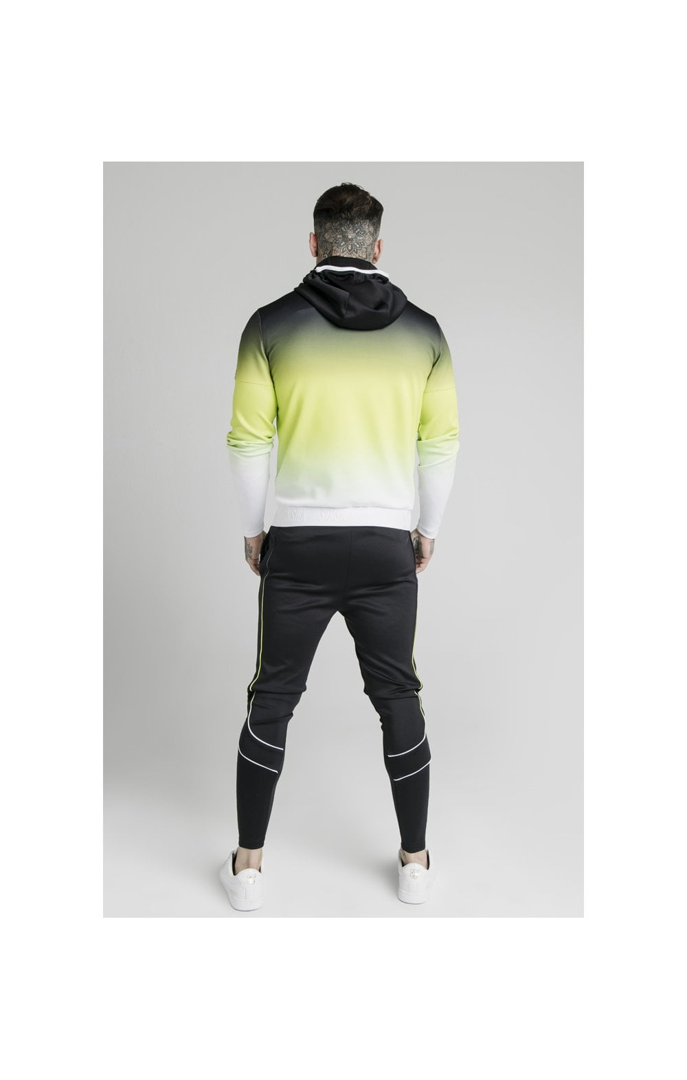 Load image into Gallery viewer, SikSilk Tri-Fade Agility Zip Through Hoodie - Black, Fluro & White (4)