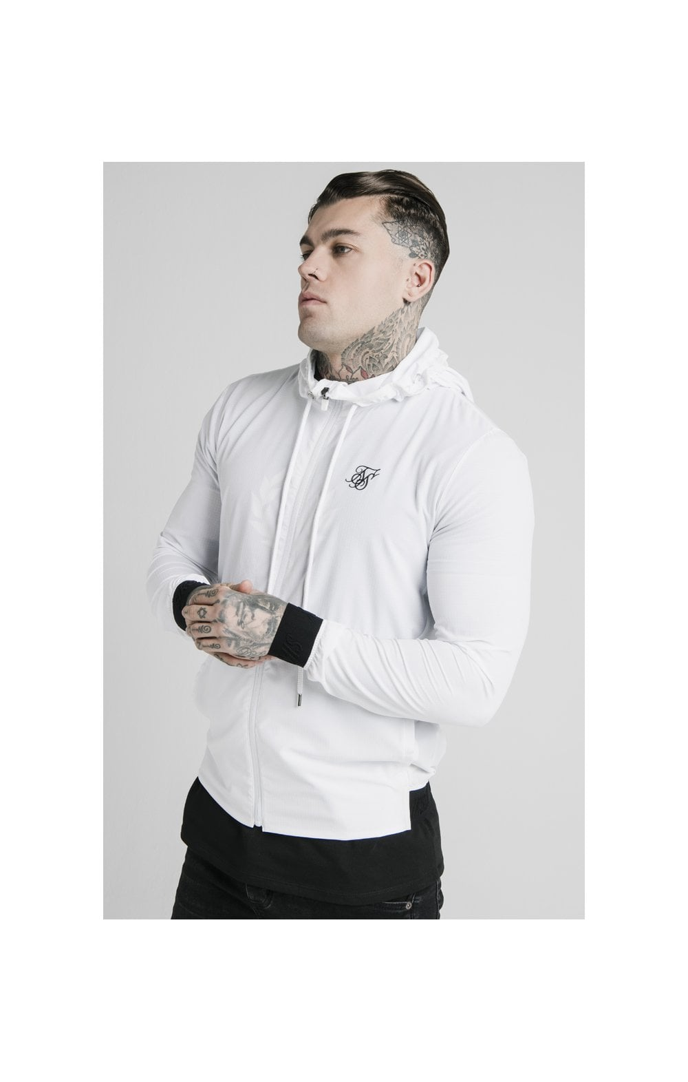 SikSilk Agility Poly Rib Zip Through Hoodie - White