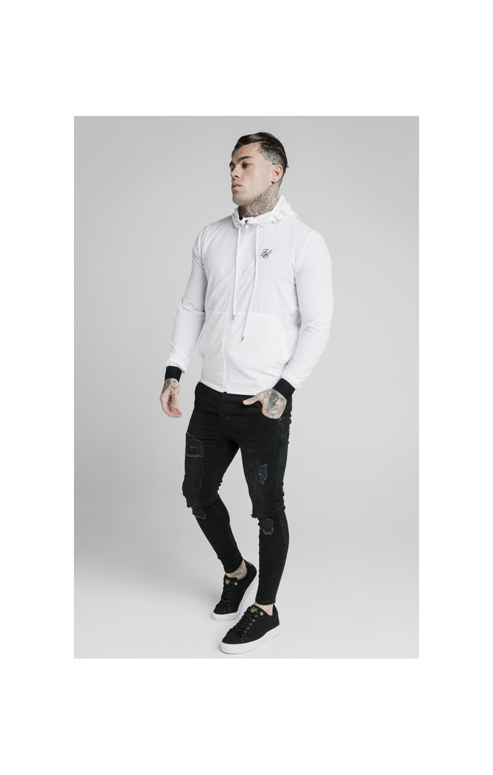 Load image into Gallery viewer, SikSilk Agility Poly Rib Zip Through Hoodie - White (2)