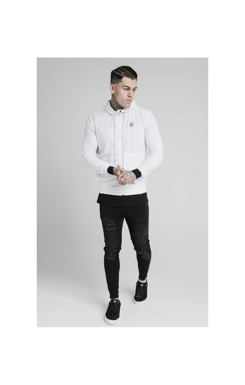 SikSilk Agility Poly Rib Zip Through Hoodie - White (3)
