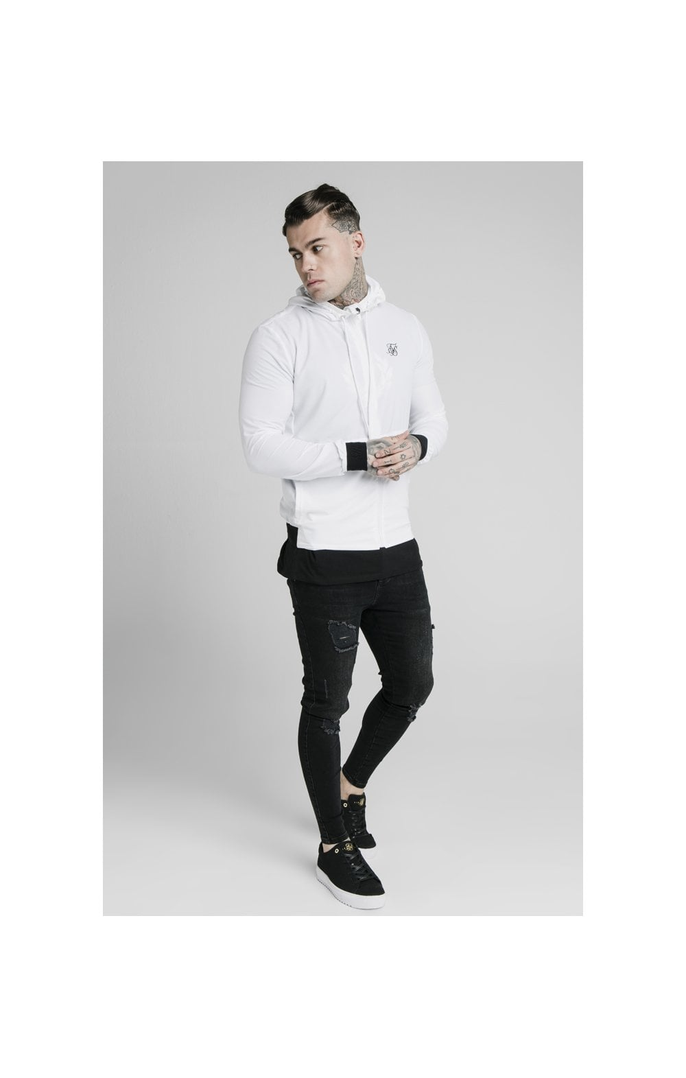 SikSilk Agility Poly Rib Zip Through Hoodie - White (4)