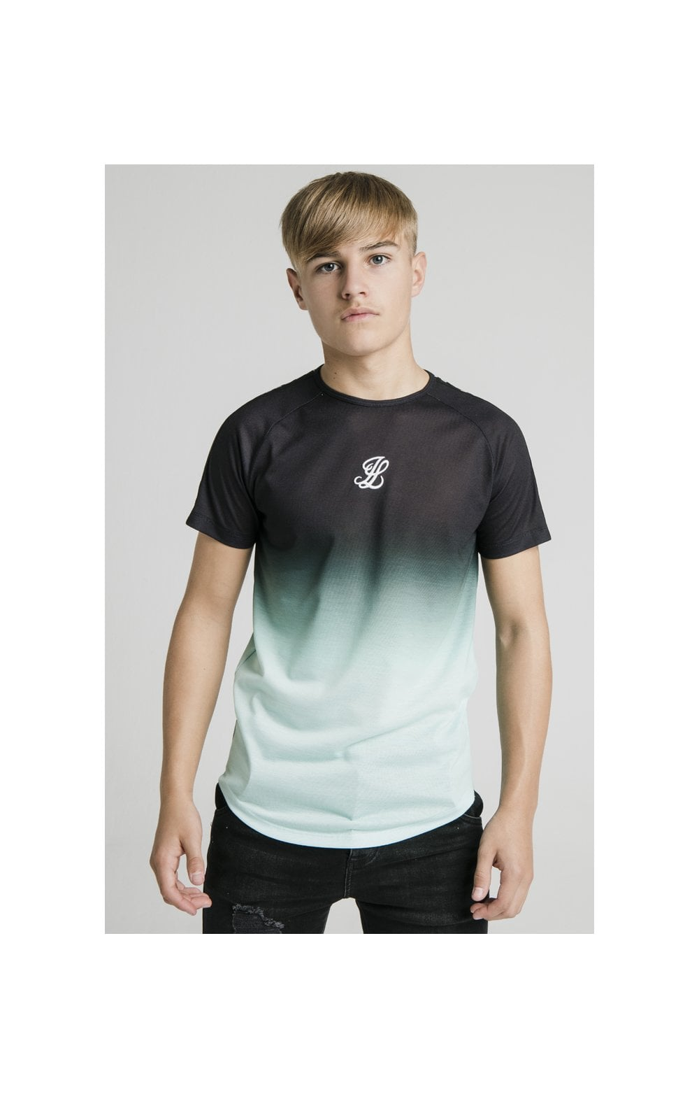 Illusive London Tape Fade Logo Tee - Black & Mint Kids Top Sizes: 7-8 YRS