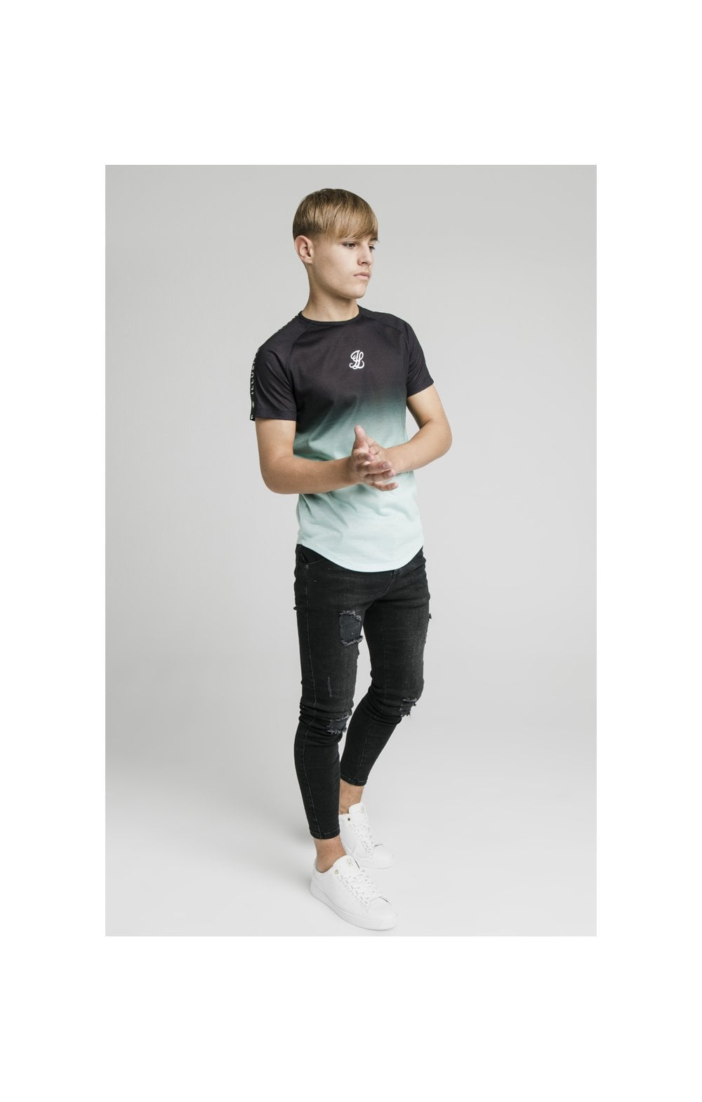 Illusive London Tape Fade Logo Tee - Black & Mint (3)