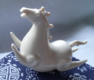 Rocking Tibetan Wind Flying Horse Blanc-de-Chine Porcelain Figurine