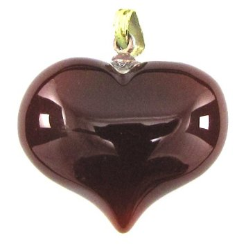 Carnelian Pendant Puffy Heart in Rich Amber Brown