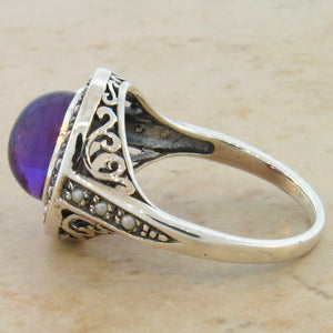 Brazilian Amethyst ring 3.5 carat in Halo Filigree setting size 7