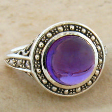 Load image into Gallery viewer, Brazilian Amethyst ring 3.5 carat in Halo Filigree setting size 7