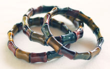 Load image into Gallery viewer, Red, Blue and Gold Tiger's Eye Bamboo-shaped Bead Bracelet