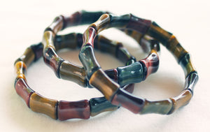 Red, Blue and Gold Tiger's Eye Bamboo-shaped Bead Bracelet for Success with Integrity