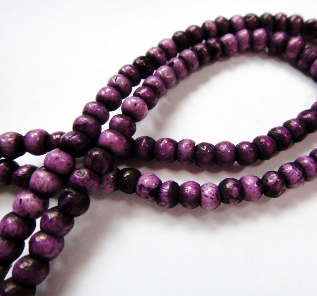Purple 20 Inch Water Buffalo Bone 3mm Bead Mala-Style Necklace