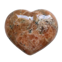 Load image into Gallery viewer, Orange Calcite with Black Tourmaline Puffy Crystal Heart Medium-Size in Burnt Orange