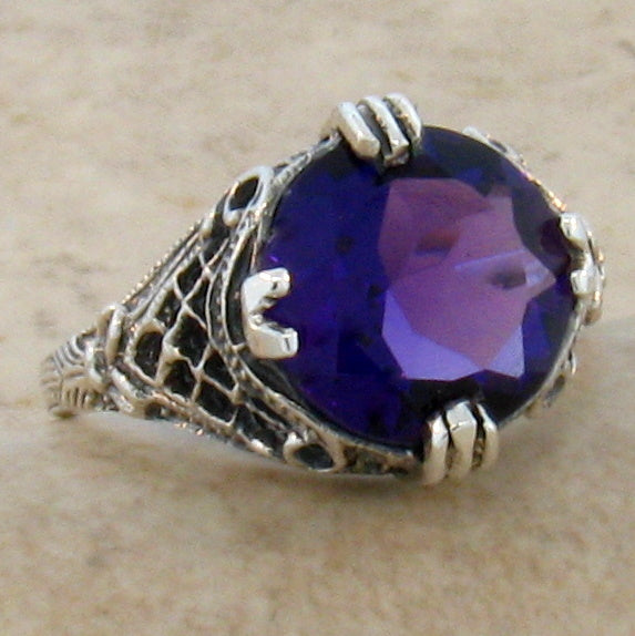 Amethyst Ring Retro Design Sterling Silver Filigree Setting - Size 7 Ring