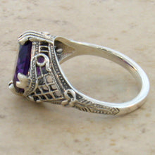 Load image into Gallery viewer, Amethyst Ring Retro Design Sterling Silver Filigree Setting - Size 7 Ring