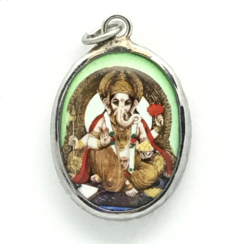 Lord Ganesh in Tan Pants with Aqua Background Enameled Brass Deity Pendant