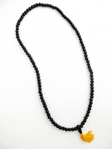 Ebony Wood Mala with Orange Silk Tassel 6.5mm bead