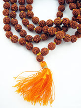 Load image into Gallery viewer, Rudraksha Mala Beads with Orange Tassel 6mm Knotted Beads