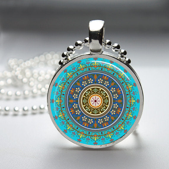 Third Eye Indigo 6th Chakra Pendant 1 inch round glass with 18 inch silver ball chain.
