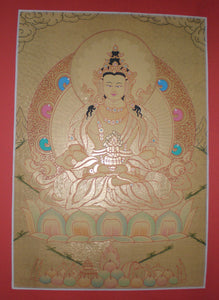 Tibetan Thanka  Jhambala, the God of Wealth