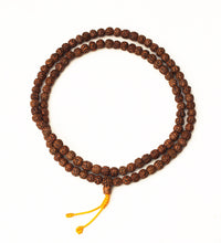 Load image into Gallery viewer, Golden Rudraksha Mala Beads with Macrame Tie 8.5mm bead size