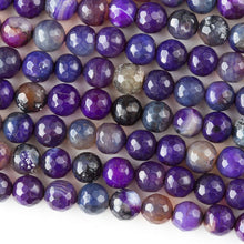 Load image into Gallery viewer, Purple Dragon Veins Agate Faceted 7.5mm Beads