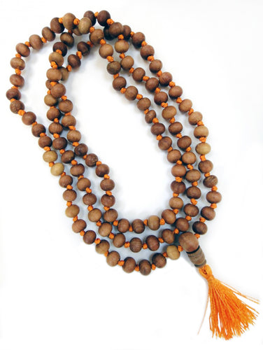 Tassel Necklace Sandalwood Knotted 8mm Mala Beads