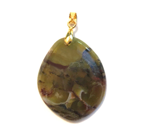 African Green Opal Pendant free form shape