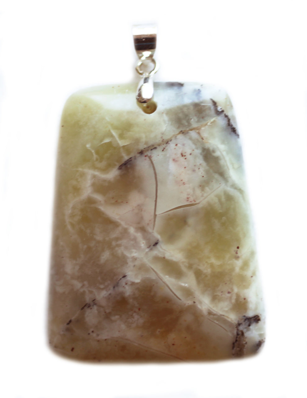 African Green Opal pendant in trapezoid shape