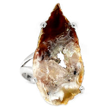 Load image into Gallery viewer, Brown Agate with Druzy Silver Ring in Size 7