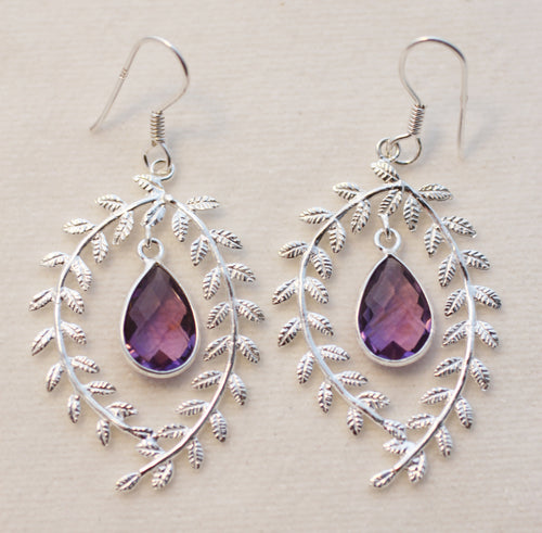 Amethyst Earrings: Faceted Briolettes Dangling Within Silver Wreaths