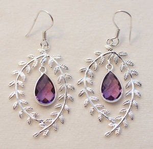 Natural Brazilian Amethyst Earrings: Faceted Briolettes Dangling Within Silver Wreaths