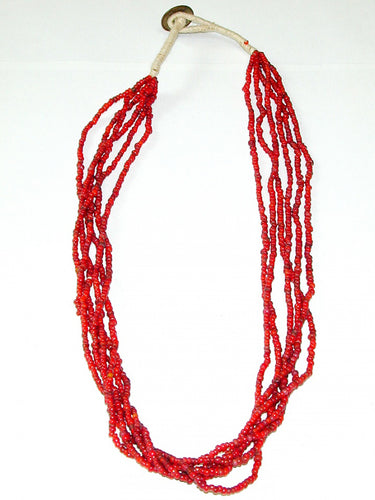 Antique Red Whitehearts Venetian Trade Beads Necklace